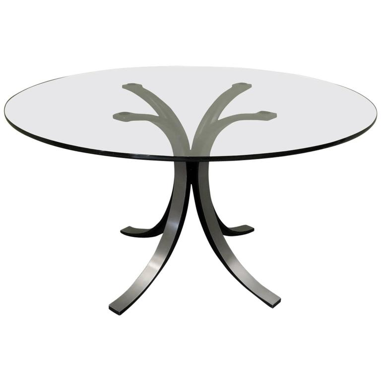 Design Borsani-Gerli by Tekno Glass and Metal Round Table