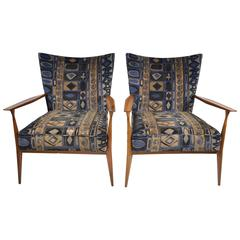 Paul McCobb for Directional Pair of Armchairs with Lenore Larsen Fabric
