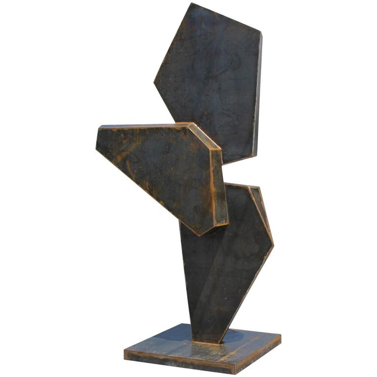 Stunning Large Modern Geometric Corten Steel Sculpture