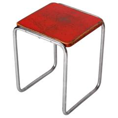 Czech Bauhaus Tubular Steel Stool