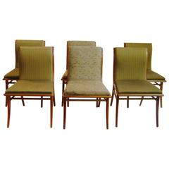 T.H. Robsjohn-Gibbings for Widdicomb Set of Six Sabre Dining Chairs