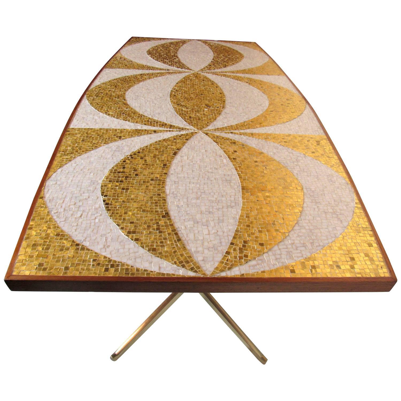 mosaic dining table with mahogany and bronze bases circa