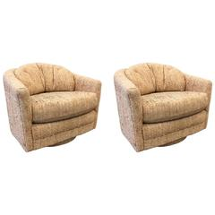 Pair of Swivel Lounge Chairs by Maurice Villency