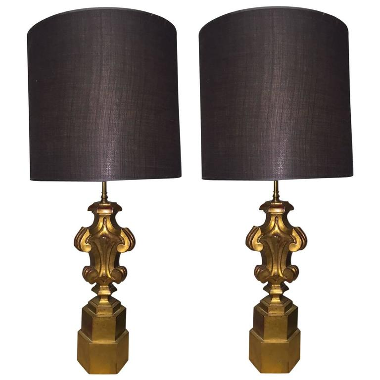Pair of James Mont Style Wooden Gilt Lamps For Sale