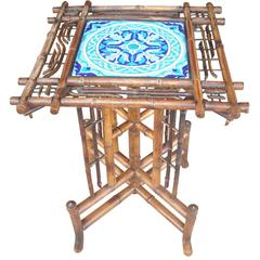 Longwy Ceramic, Tile Table/Pedestal, in Bamboo, Art Nouveau Japanerie