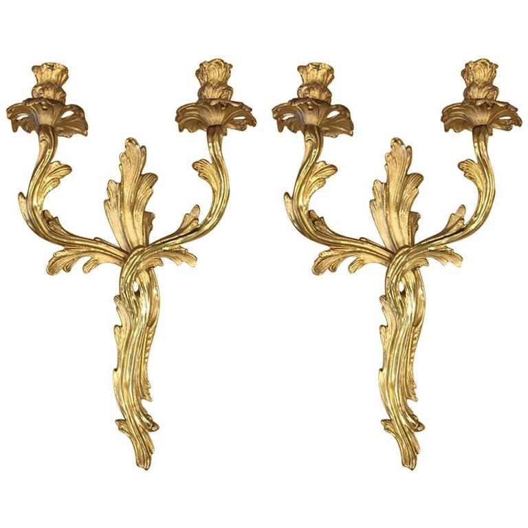 Pair of Louis XV Style Gilt Bronze Sconces