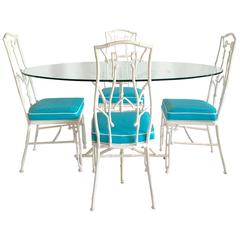 1960s Faux Bamboo Six-Piece Cast Iron Glass Top Table and Chairs