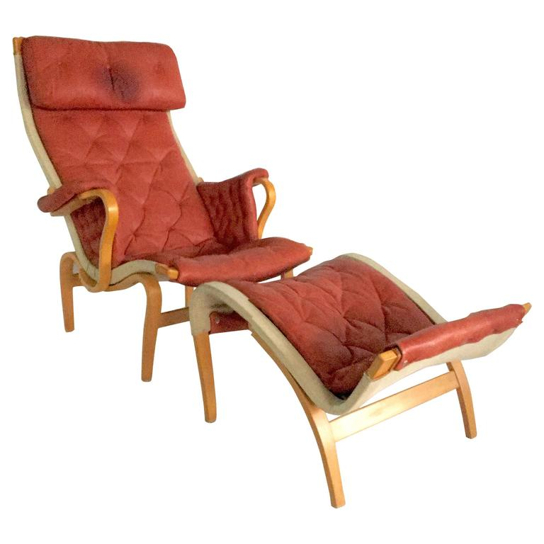 "70'S Scandinavian ""Pernilla"" Leather Bentwood Lounge Chair & Ottoman By Mathsson"
