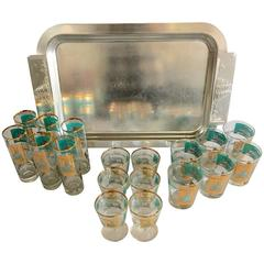 """Vintage 19-Piece """"Steamboat"""" Barware Set with Tray by Kensington"""
