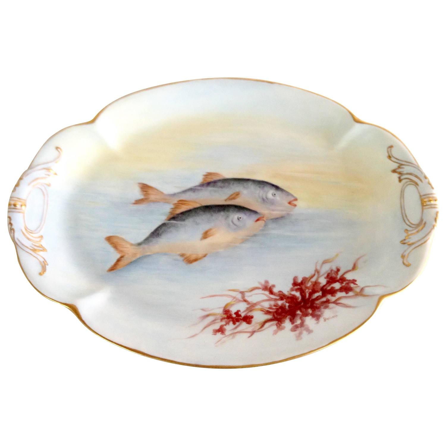 Antique french limoges sea life fish serving platter for for Fish serving platter
