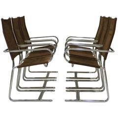Set of Six Italian Chrome Dining Chairs in the Style of Gastone Rinaldi