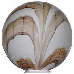 Fratelli Toso 1970s Vintage Big Round White Murano Glass Lamp