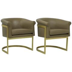 Matt Brass and Leather Petite Barrel Back Milo Baughman Attributed Chairs