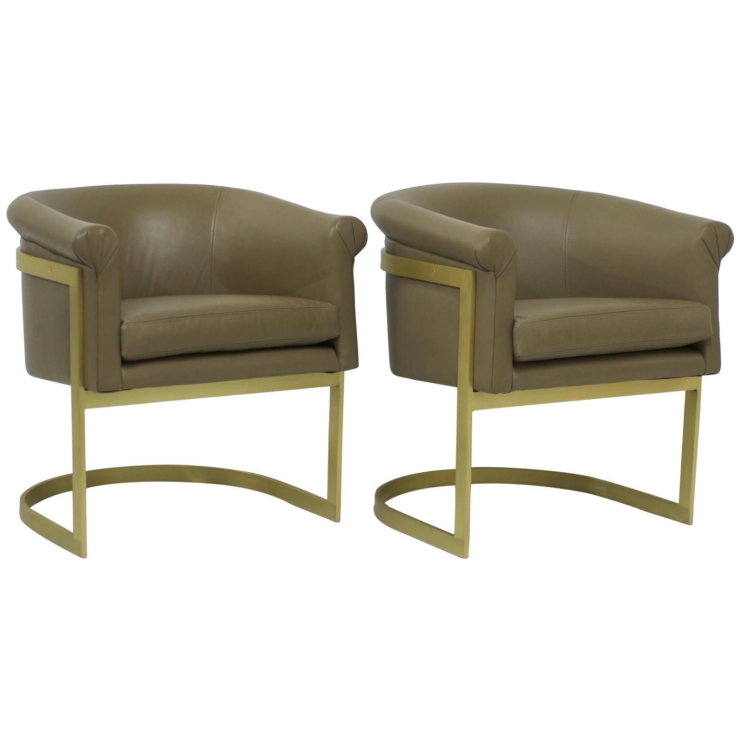 Matt Brass And Leather Petite Barrel Back Milo Baughman Attributed Chairs  For Sale At 1stdibs