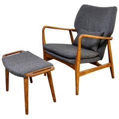 Madsen and Schubell Lounge Chair and Ottoman, Denmark, circa 1955
