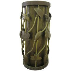 Unique Vintage Brass Umbrella Stand with Organic Lotus and Vine Design