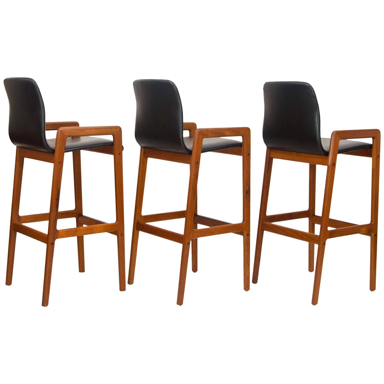 Danish Counter Seat: Set Of Three Danish Teak Bar Or Counter Stools At 1stdibs
