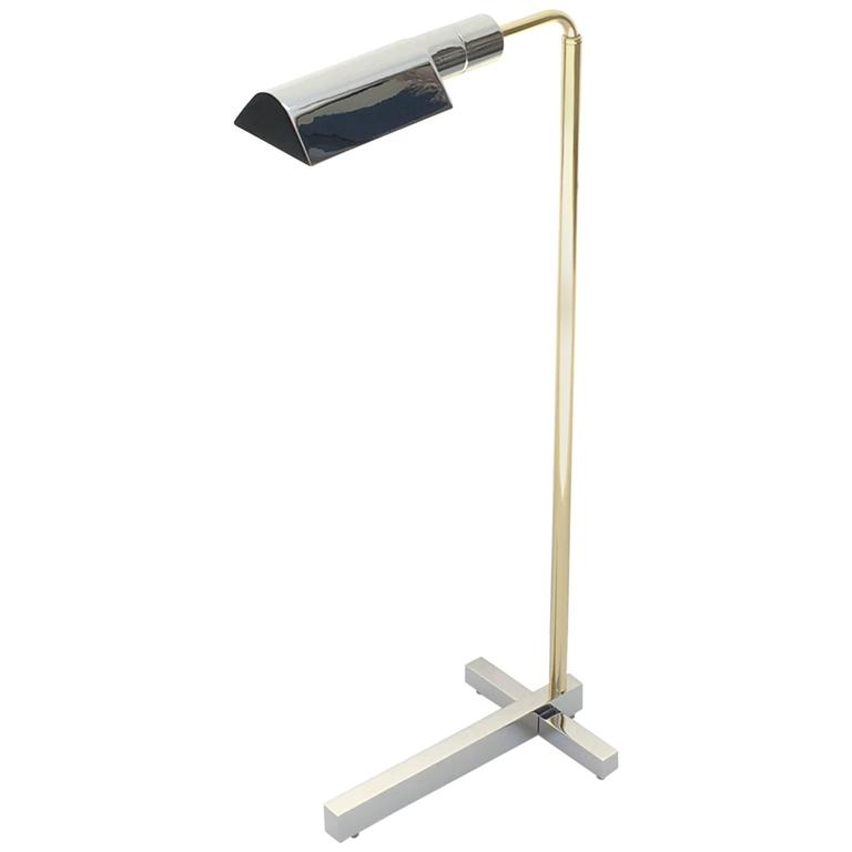 Nickel and brass adjustable floor lamp by casella at 1stdibs for Casella brass floor lamp