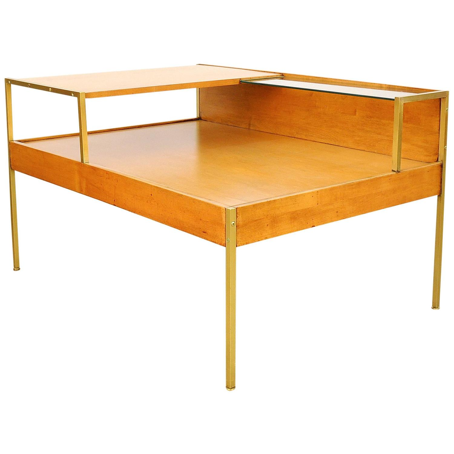 Milo Baughman for Murray Furniture Maple and Brass Coffee Table