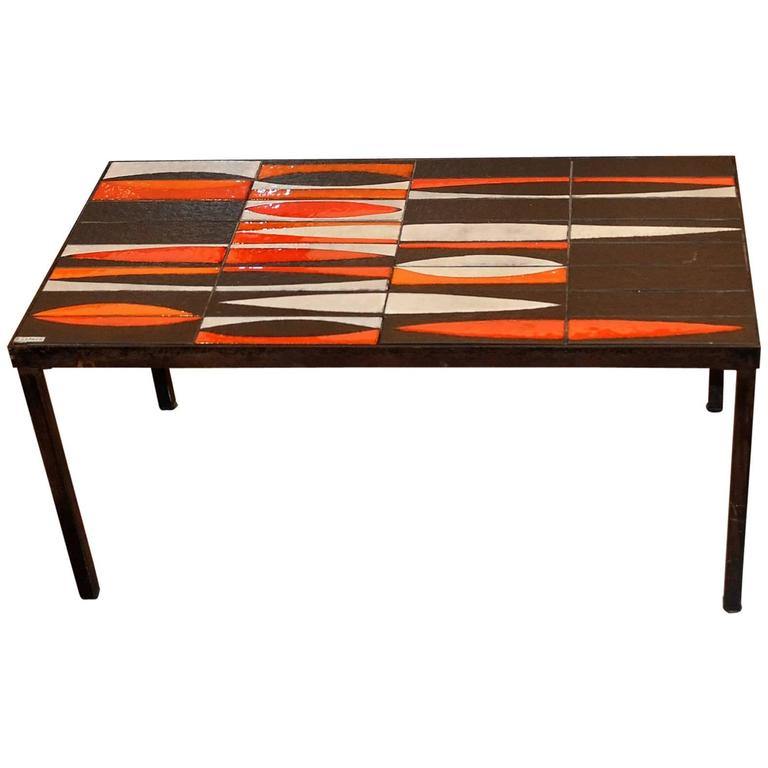 """Coffee Table """"Navette"""" by Roger Capron, circa 1950"""