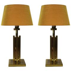 Hollywood Regency Set of Two Table Lamps