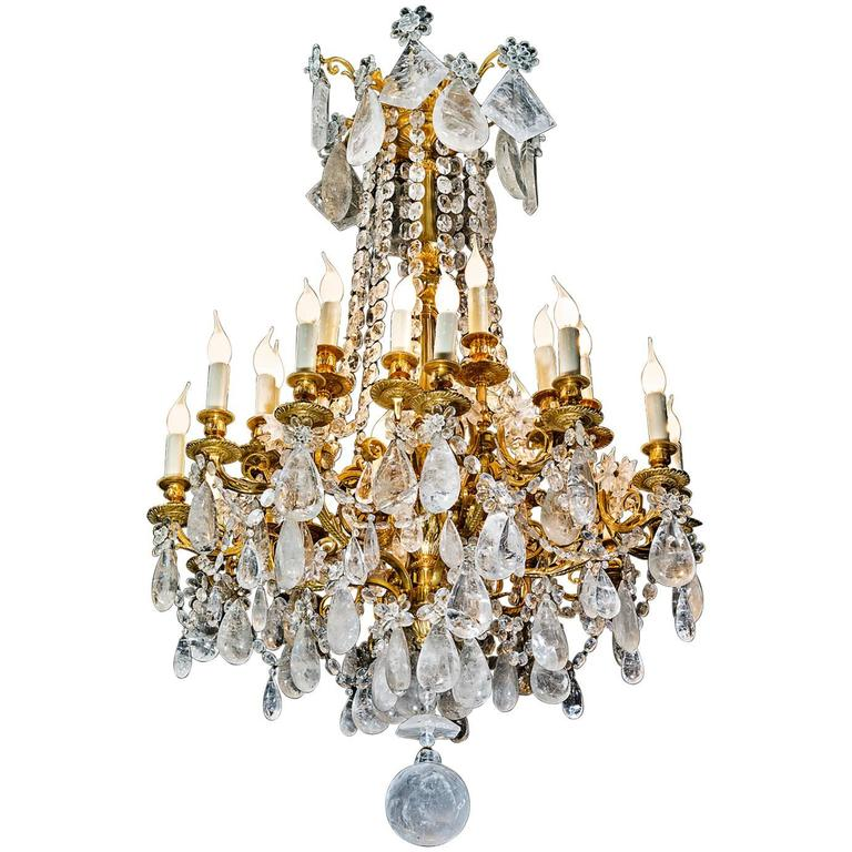 Rock Crystal and Gilt Bronze Chandelier For Sale