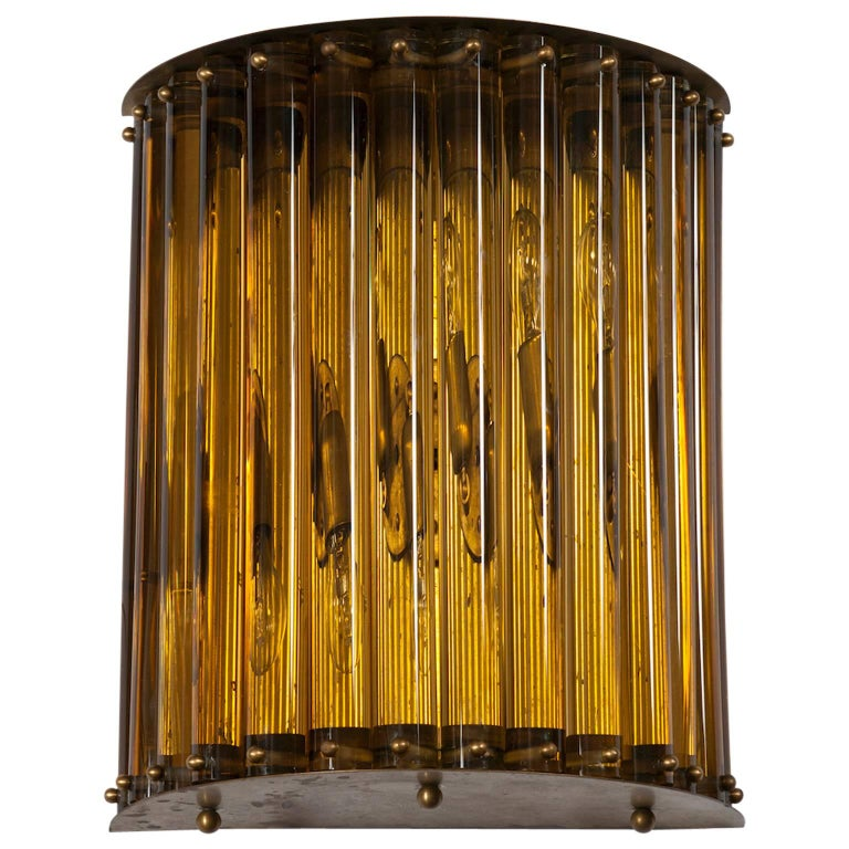Single Wall Sconce in blown Murano Glass in amber color 1960s Italy For Sale