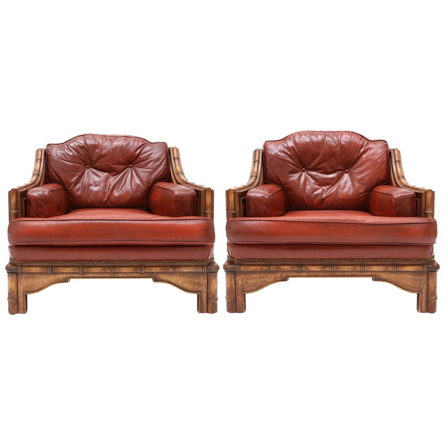 Pair of Red Leather Club Chairs For Sale at 1stdibs