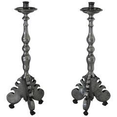 Antique Baroque Style Pair of Pewter Candlesticks, German, 1690