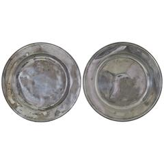 Two Large Antique Polished Pewter Chargers, English, 18th Century