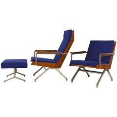 Exclusive Rob Parry 'Lotus' Lounge Chairs with Ottoman in Rosewood