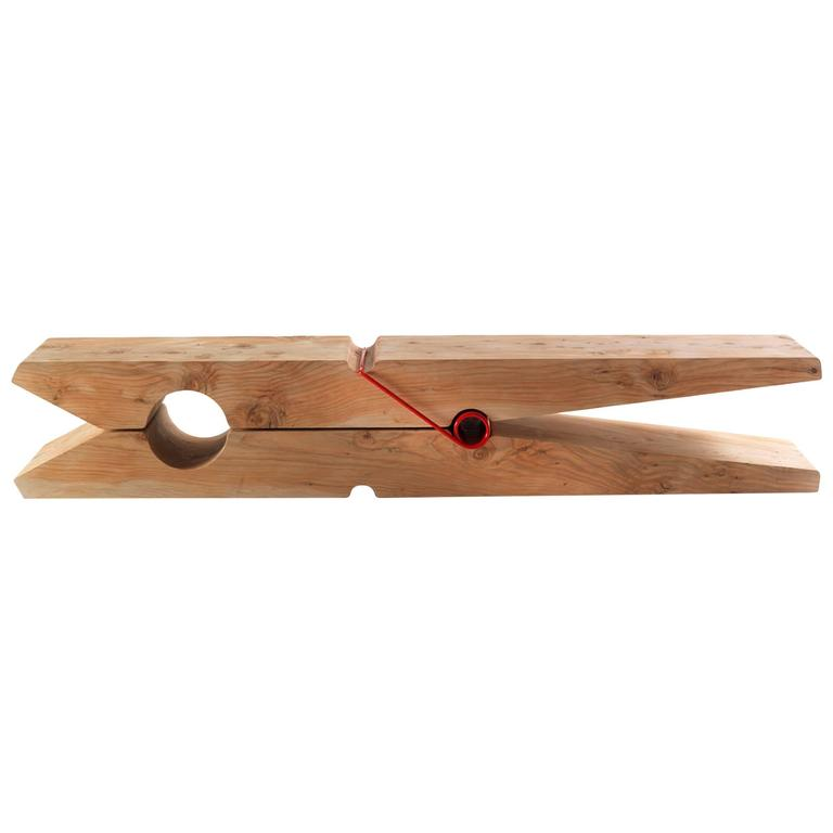 Bench Clothespin in Solid Natural Cedar Wood