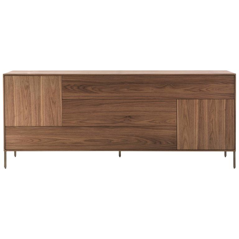 Sideboard Barbara in Massive Natural Walnut with Three Drawers and Two Doors For Sale