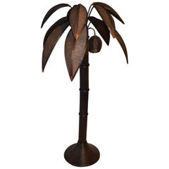 1970s Large Bamboo Palm Tree Lamp