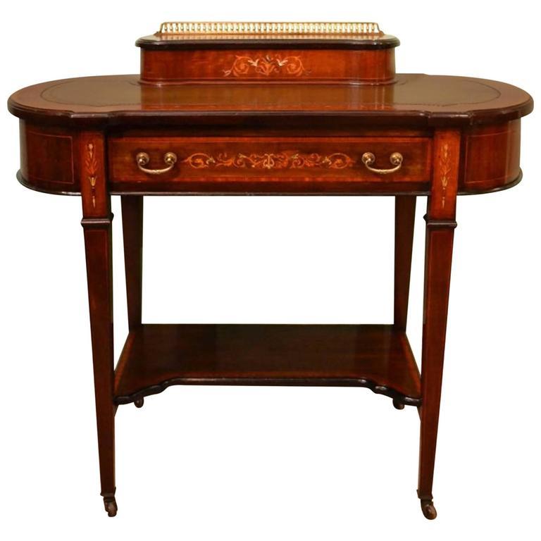 Antique Edwardian Inlaid Writing Table Desk Circa 1900 At