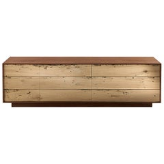 Sideboard Brico Wood Lowboard in Massive Natural Walnut with Six Drawers