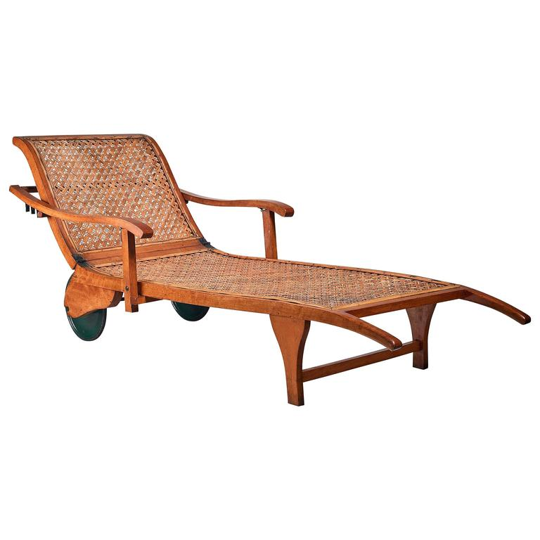Beech and woven cane garden chaise on wheels germany for 1930s chaise lounge