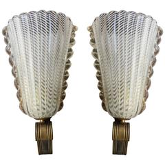 Pair of Murano Sconces by Barovier & Toso, 1940s