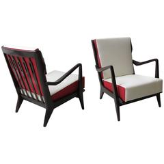 Gio Ponti Pair of Armchairs, Model # 516