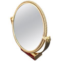 Heavy Solid Bronze Swiss Made Shaving Mirror