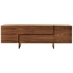 Sideboard Multilayer in Walnut with Two Central Drawers and Two Side Door
