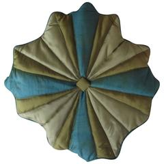 Throw Pillow/Unusual Turquoise 'Blue' and Gold Silk, Quilted Flower Design