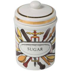 Piero Fornasetti porcelain sugar jar with cover, Italy circa 1960