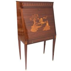 Paolo Buffa mahogany bureau with inlay, Italy circa 1940