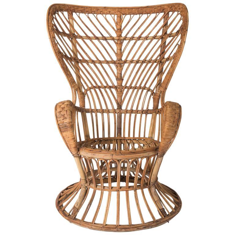 Lio Carminati wicker bamboo cane armchair, Italy circa 1950