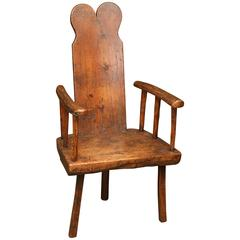 Antique Rustic Primitive 18th Century Chestnut Folk Art Chair