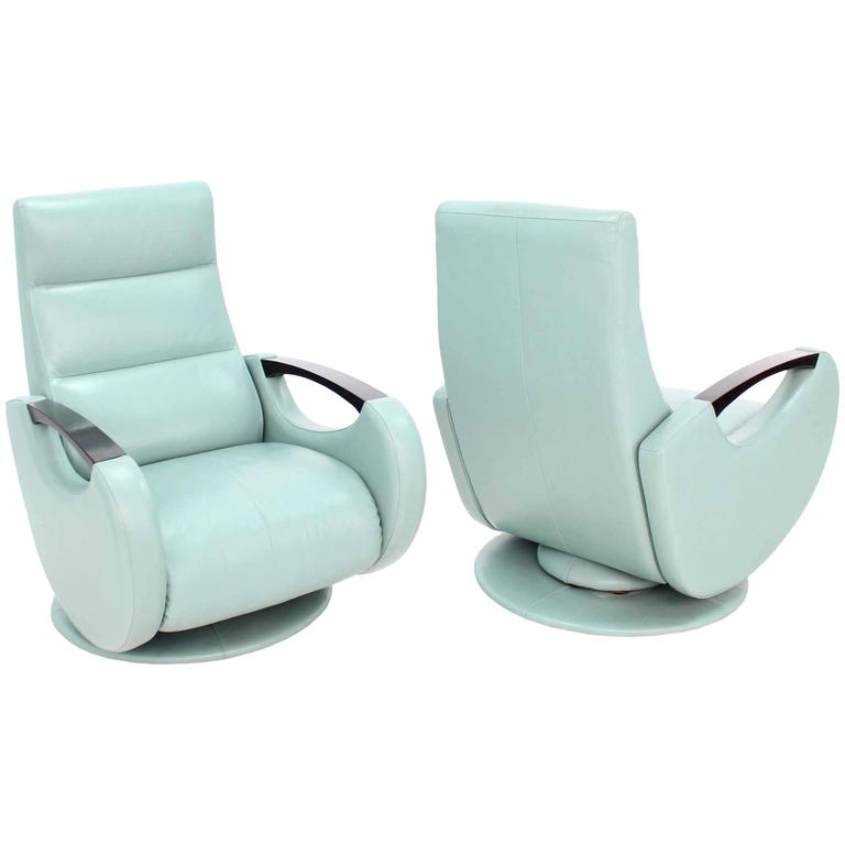 Pair of Mid Century Modern Leather Recliner Lounge Chairs Space Age Design