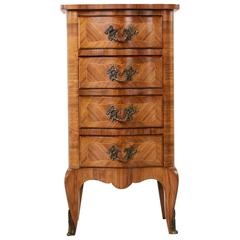Petite French Louis XV Style Rosewood Marquetry Lingerie Chest or Commode