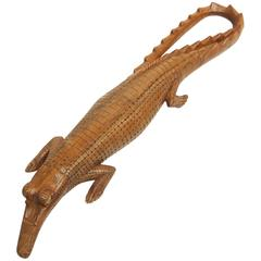 1950s Carved Wooden Crocodile Sculpture