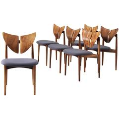 Kurt Østervig Set of Six Dining Chairs in Walnut